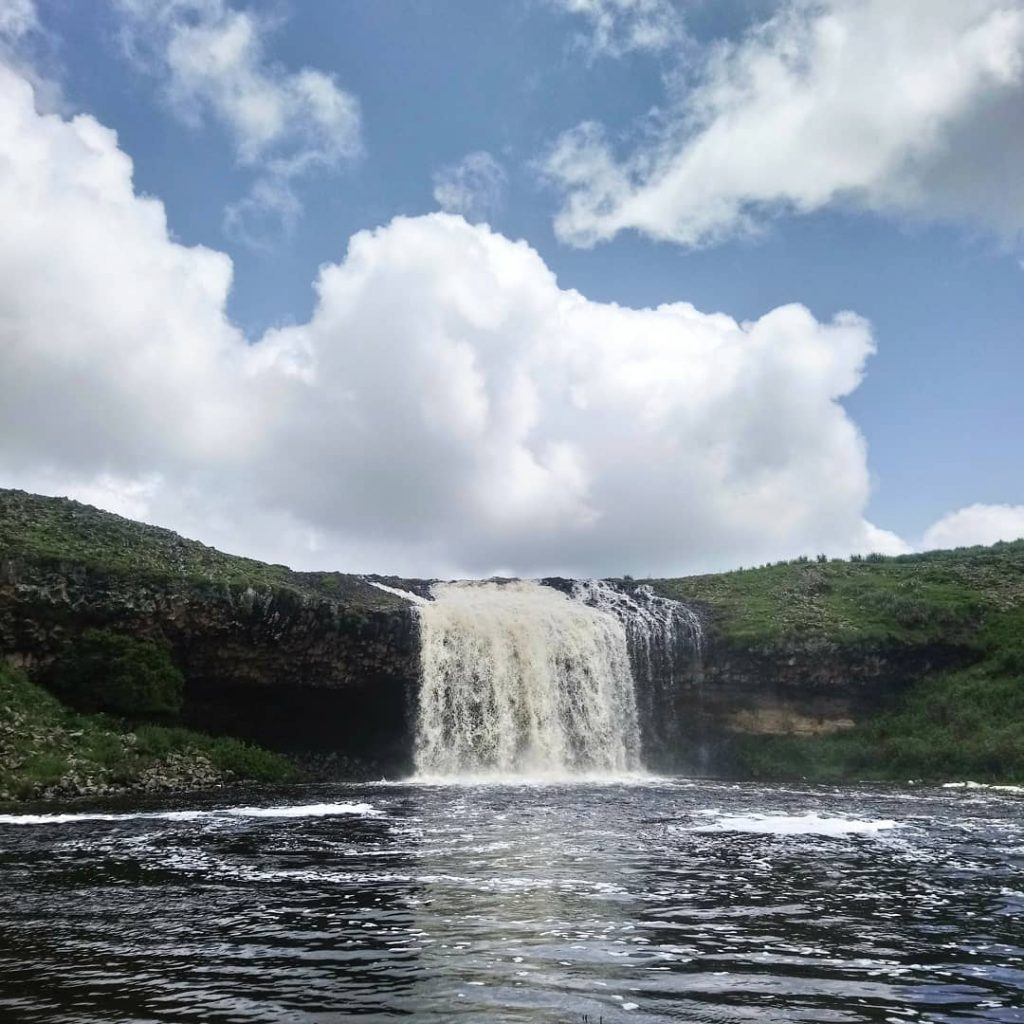 waterfall at Fincha Habera In the Bale Mountain National Park